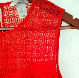 H&M crocheted red top